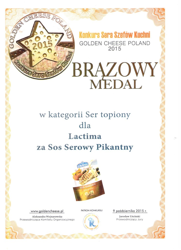 Brazowy Medal  Golden Cheese Poland  2015_dyplom