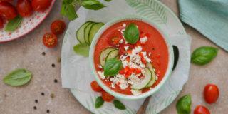 Chłodnik z pomidorów i arbuza z serem